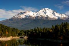 Mt Shasta Mountain Lake Modest Bridge California Recreation Landscape Stock Photo