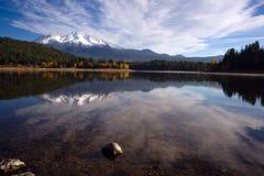 Mt Shasta Reflection Mountain Lake Modest Bridge California Recreation Stock Image