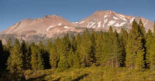 Mount Shasta Shastina Cascade Range California National Forest stock photography