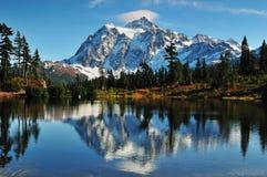 Mt Shuksan. Reflection of Mt Shuksan on Picture Lake at Mount Baker Royalty Free Stock Photos