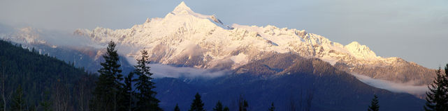 Mt Shuksan Panorama. Panorama of Mt Shuksan in the winter from Baker Lake stock photography
