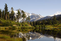 Mt Shuksan and Picture Lake royalty free stock photos