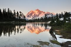 Mt shuksan and picture lake at sunset Royalty Free Stock Photo