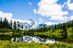 Mt. Shuksan reflected at Picture lake Stock Photo