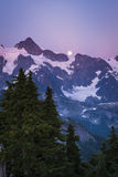Mt Shuksan and the rising moon, Washington state cascade range Royalty Free Stock Photography