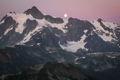 Mt Shuksan and the rising moon, Washington state cascade range Stock Photos