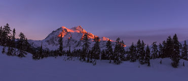 Mt Shuksan in Winter at Sunset Stock Photos