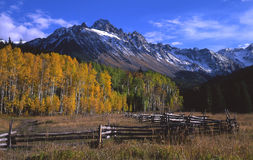 Mt. Sneffels & Corral. An image of Mount Sneffels with aspen trees and a corral in the foreground, located in the Uncompahgre National Forest of Colorado Royalty Free Stock Photos