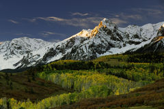 Mt. Sneffels in Fall color and. Sunrise, Dallas Pass, Colorado Royalty Free Stock Photos