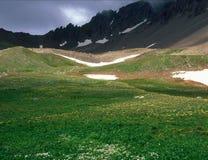 Mt Sneffels und nähernder Sturm am Yankee-Jungen-Becken, Uncompahgre-staatlicher Wald, San Juan Range, Colorado Lizenzfreies Stockbild