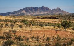 The majestuous Mt Sonder, Northern Territory, Australia. Mt Sonder is 130 km 81 mi west of Alice Springs along the MacDonnell Ranges in the West MacDonnell stock photography
