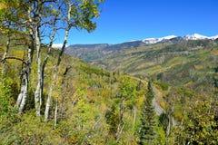 Mt Sopris durante la stagione di fogliame in Colorado Fotografia Stock