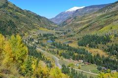 Mt Sopris during foliage season in Colorado. View of the snow covered Mt Sopris during foliage season in Colorado royalty free stock images