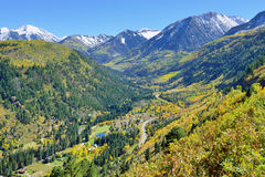 Mt Sopris during foliage season in Colorado. View of the snow covered Mt Sopris during foliage season in Colorado stock photography