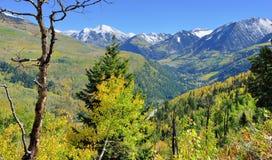 Mt Sopris during foliage season in Colorado. View of the snow covered Mt Sopris during foliage season in Colorado Stock Photo