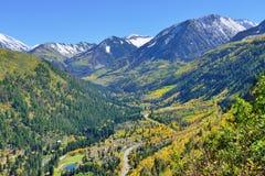 Mt Sopris during foliage season in Colorado. View of the snow covered Mt Sopris during foliage season in Colorado Stock Image