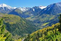 Mt Sopris during foliage season in Colorado. View of the snow covered Mt Sopris during foliage season in Colorado stock images