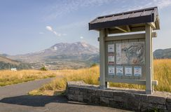 Mt. St. Helens and a board of instructions. Royalty Free Stock Images