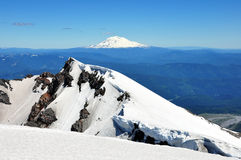 Mt St Helens Crater. With Mt Adams in the background Stock Images