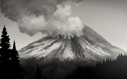 Mt. St. Helens Eruption stock illustration