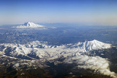 Mt. St. Helens and Mt. Adams, Washington. An Aerial view of Mount St. Helens and Mt. Adams, Washington Stock Photography