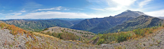 Mt St Helens, Mt Adams y Mt Hood Panorama Imagen de archivo libre de regalías