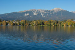 Mt. Stol. Reflection in lake Bled in the afternoon Royalty Free Stock Image