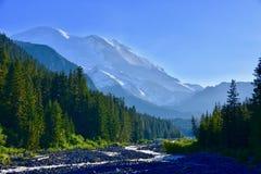 Mt Tahoma più piovoso dal fiume White, traccia della moraine di Emmons, Mt Rainier National Park, Washington fotografia stock libera da diritti