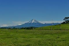 Mt Taranaki in rural setting. Mountain on a clear day with local farmland stock photos
