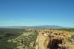 Mt. Taylor and the Malpais. Mount Taylor a sacred mountain to the local Native American tribes, and the sandstone formations and lava beds of The Malpais Stock Image