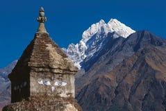 Mt Thamserku,珠穆琅玛地区,尼泊尔 免版税库存照片