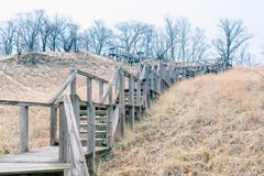 Mt. Tom stairs Michigan City, Indiana USA / 03/29/2018 // 192 Feet// 43 Degree maximum slope angle// 56 million cubic feet of royalty free stock image