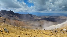 Mt Tongariro, an active volcano in New Zealand stock photos