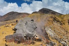 Mt Tongariro, an active volcano in north island in New Zealand stock images