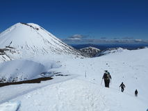 Mt tongariro climbers Royalty Free Stock Photo