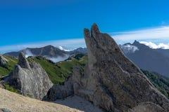 Mt Tsubakuro在日本阿尔卑斯山北部 免版税库存图片