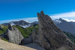 Mt Tsubakuro in the Japan Northern Alps royalty free stock image