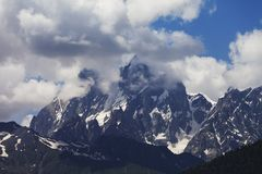Mt. Ushba in clouds, Caucasus Mountains Stock Photography