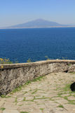 Mt. Vesuvius from the Sorrento waterfront. Royalty Free Stock Photography