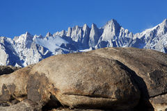 Mt. Whitney, Alabama Hills. Clear Blue Sky and Mt. Whitney, Alabama Hills, Lone Pine, California Stock Image