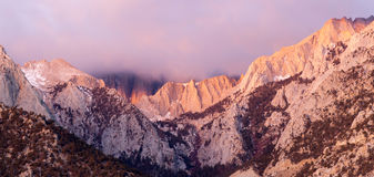 Mt Whitney Covered Cumulus Cloud Sierra Nevada Range California Stock Image
