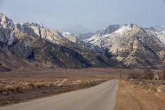 Mt. Whitney Drive. Road leading to Mt. Whitney in winter Stock Photo