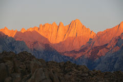 Mt. Whitney Sunrise. Mt whitney sunrise tallest peak in 48 states Stock Photography