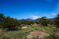 Mt. Yale from east of the Arkansas River in Colorado Stock Images