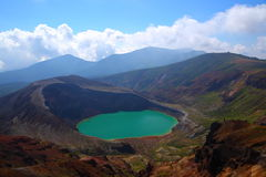 Mt. Zao and crater lake Royalty Free Stock Photos