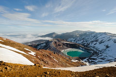 Mt zao e lago natural da cratera no inverno, yamakata, japão Fotografia de Stock