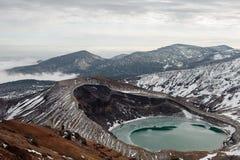 Mt Zao et lac de cratère, Miyagi, Japon Photographie stock libre de droits