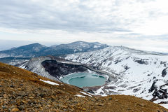 Mt.zao and natural crater lake in winter, yamakata, japan. Royalty Free Stock Photography