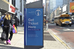 MTA metrocard machine. MTA ticket machine located by bus stop Stock Image