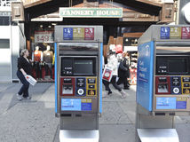 MTA metrocard machine. MTA ticket machine located by bus stop Stock Images